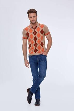 Hemington Erkek Bej Baklava Desen  Triko Polo T-shirt 1
