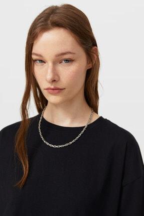 Stradivarius Kadın Siyah Uzun Basic T-shirt 2
