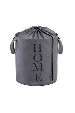 Ocean Home Baskılı Katlanır Çamaşır Sepeti (GRİ) - 36x40 Cm 0
