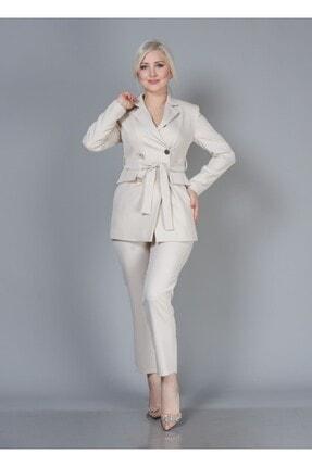 Alta Moda Kadın Krem Double Kumaş Ikili Takım Ceket Pantolon 1