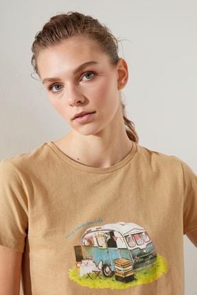 تصویر از Camel Baskılı Basic Örme T-Shirt TWOSS20TS0577
