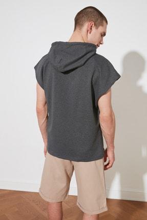 TRENDYOL MAN Antrasit Erkek Oversize Fit Kısa Kollu Kapüşonlu Sweatshirt TMNSS20SW0148 4