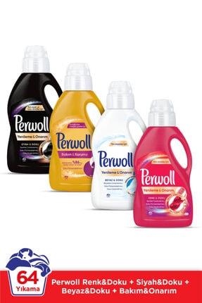 Perwoll Hassas Bakım Sıvı Çamaşır Deterjanı  4 x 1L (64 Yıkama) Siyah + Renkli + Bakım Onarım + Beyaz 0