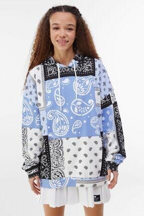 Bershka Kadın Mavi Kapüşonlu Sweatshirt 0