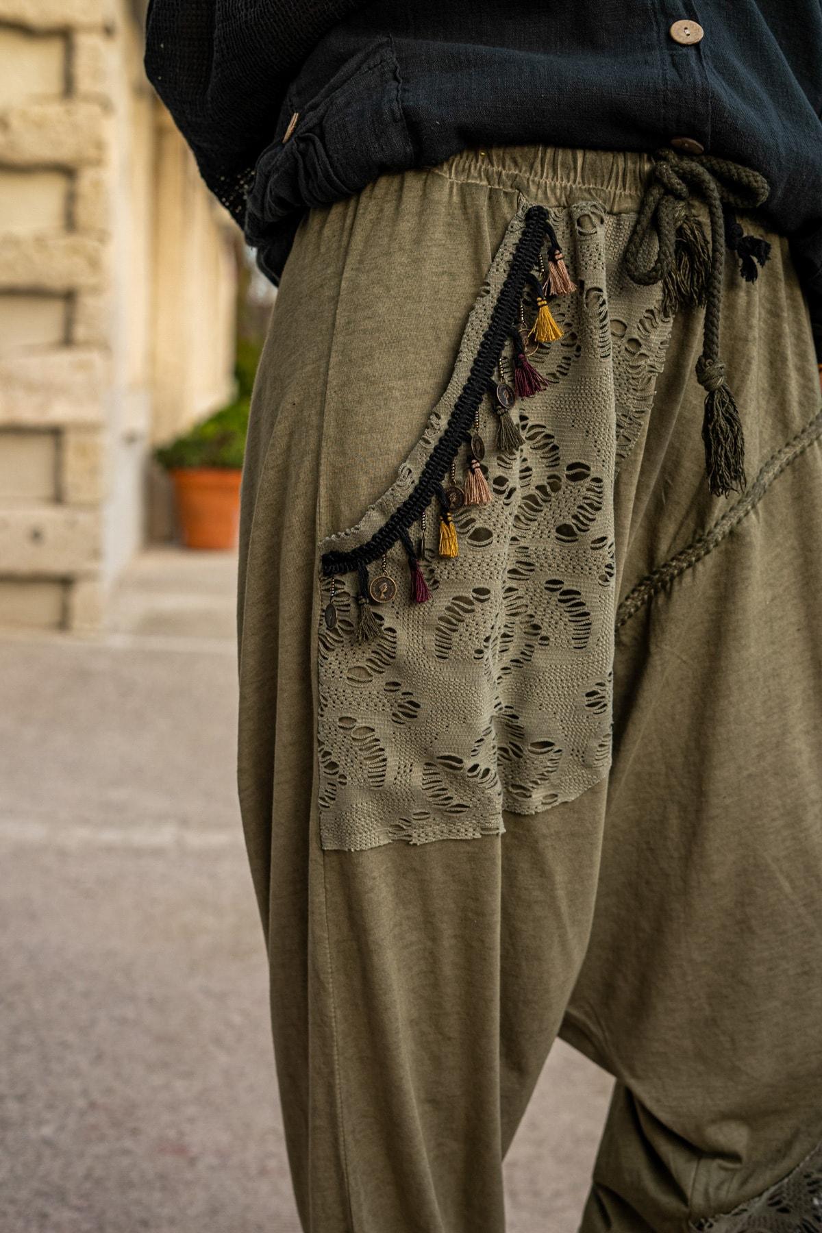 Güneşkızı Kadın Haki Yıkamalı Püsküllü Ajur Detaylı Şalvar Pantolon GK-RSD2024 1