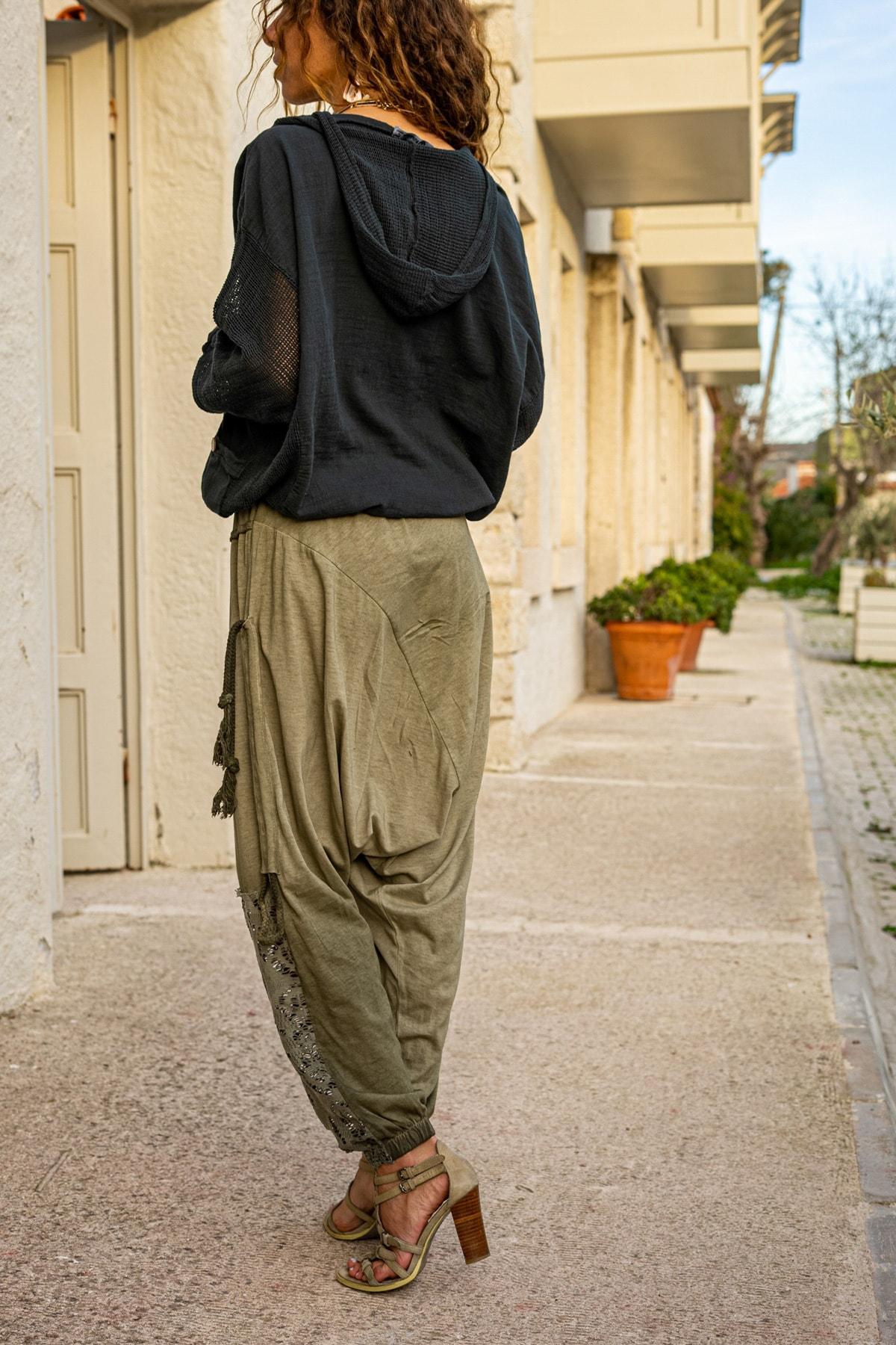Güneşkızı Kadın Haki Yıkamalı Püsküllü Ajur Detaylı Şalvar Pantolon GK-RSD2024 3