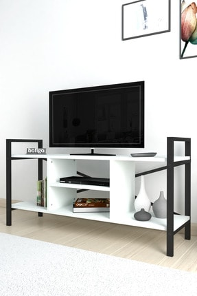 Bofigo Tv Sehpası Raflı Tv Ünitesi Televizyon Sehpası Beyaz 3