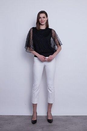 Jument Kadın Organze Desenli Tül Detaylı Kayık Yaka Yarasa Kol Bluz-Siyah Puan 1