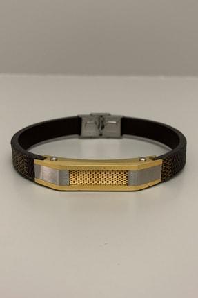 HEDİYELİMANİ Kahverengi Kordonlu Altın Sarı Gümüş Renk Erkek Çelik Bileklik 1
