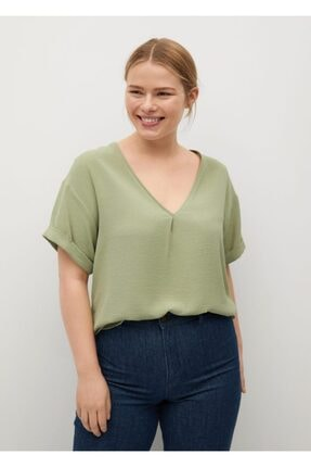 Mango Kadın Yeşil Kısa Kollu Bluz 0