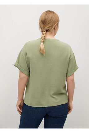 Mango Kadın Yeşil Kısa Kollu Bluz 3