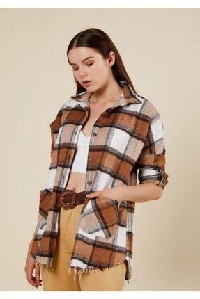 CrocusButik Kadın Kahverengi Kareli Oduncu Gömlek 0