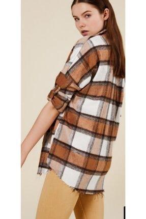 CrocusButik Kadın Kahverengi Kareli Oduncu Gömlek 2