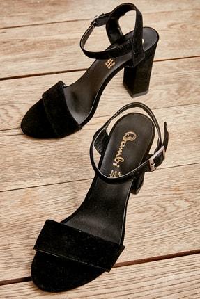 Bambi Kadın Siyah Süet Klasik Topuklu Ayakkabı K05503740072 0