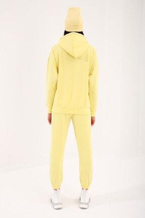 Tommy Life Limon Kadın Kapüşonlu Kanguru Cep Oversize Lastik Paça Eşofman Takımı - 95288 3