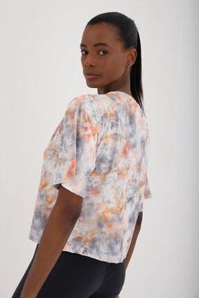 Tommy Life Turuncu Kadın Yazı Baskılı Karışık Batik Desenli Oversize O Yaka T-shirt - 97129 2