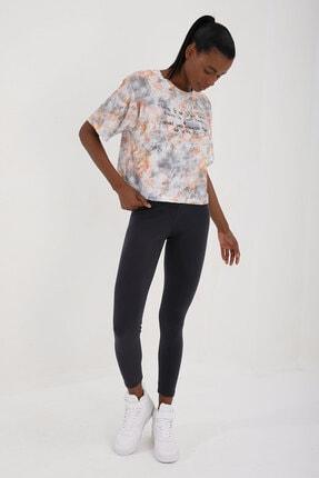 Tommy Life Turuncu Kadın Yazı Baskılı Karışık Batik Desenli Oversize O Yaka T-shirt - 97129 3