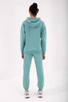 Tommy Life Mint Yeşil Kadın Kapüşonlu Kanguru Cep Oversize Lastik Paça Eşofman Takımı - 95288 1