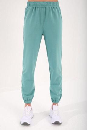 Tommy Life Mint Yeşil Kadın Kapüşonlu Kanguru Cep Oversize Lastik Paça Eşofman Takımı - 95288 4