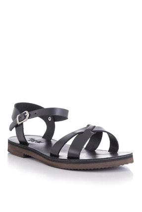DaphneSandals El Yapımı Hakiki Deri Siyah Kadın Sandalet - 4003 0