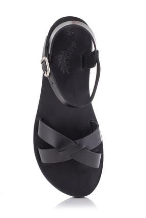 DaphneSandals El Yapımı Hakiki Deri Siyah Kadın Sandalet - 4003 2