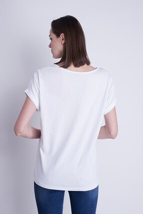 Jument Kayık Yaka Kısa Duble Kol Rahat Spor Tshirt-beyaz 3