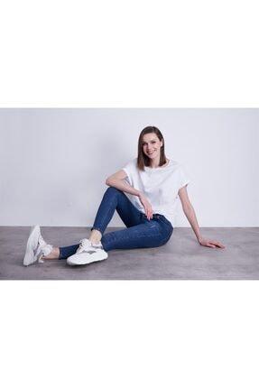 Jument Kayık Yaka Kısa Duble Kol Rahat Spor Tshirt-beyaz 4