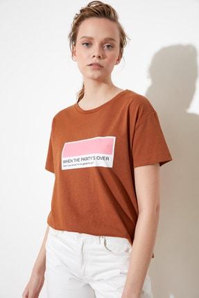تصویر از Camel Baskılı Semifitted Örme T-Shirt TWOSS21TS0144