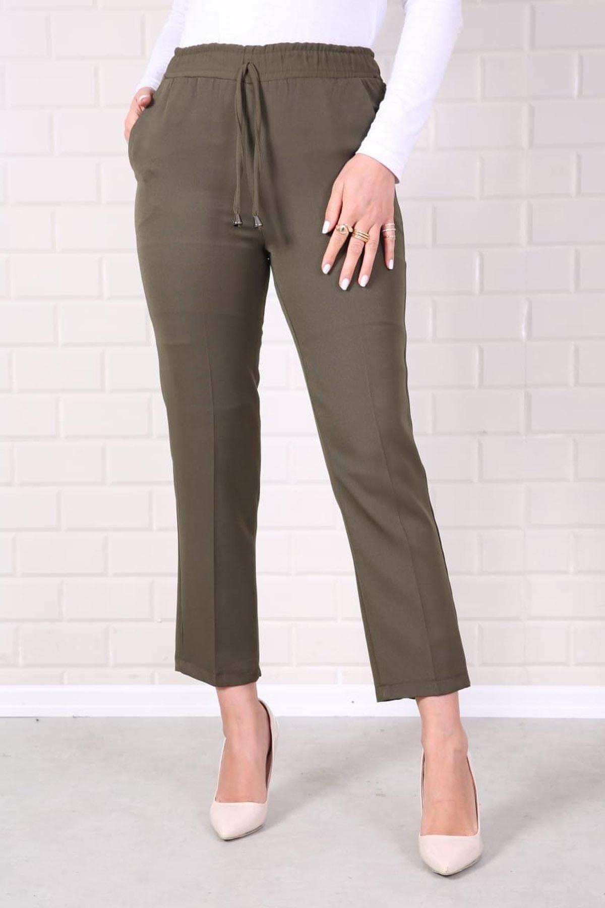 Kadın Haki Lastikli Havuç Pantolon - Me000321