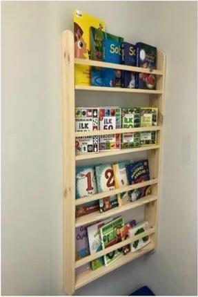 ELİSRA Montessori Çocuk Odası Kitaplığı Ahşap Ham Verniksiz Doğal Kitaplık  100*50*9 1