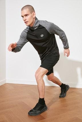 TRENDYOL MAN Antrasit Erkek Slim Fit Fermuarlı Dik Yaka Uzun Kollu Sweatshirt TMNSS21SW0301 0