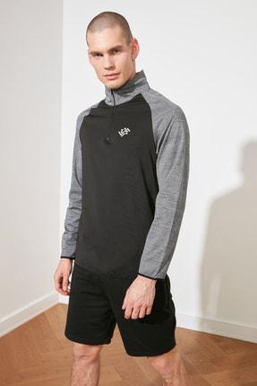 TRENDYOL MAN Antrasit Erkek Slim Fit Fermuarlı Dik Yaka Uzun Kollu Sweatshirt TMNSS21SW0301 2