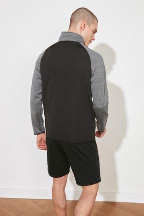 TRENDYOL MAN Antrasit Erkek Slim Fit Fermuarlı Dik Yaka Uzun Kollu Sweatshirt TMNSS21SW0301 4