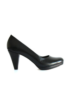 Beta Shoes Kadın Hakiki Deri Topuklu Ayakkabı Siyah 1
