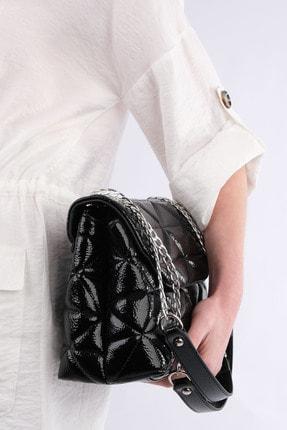Marjin Kadın Siyah Rugan Zincir Askılı Omuz Çantası Farla 1