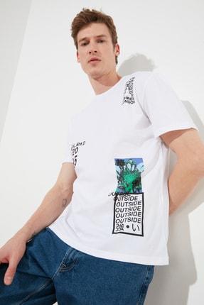 TRENDYOL MAN Beyaz Erkek Slim Fit Baskılı Bisiklet Yaka Bol Kesim T-Shirt TMNSS20TS0642 1