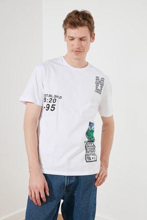 TRENDYOL MAN Beyaz Erkek Slim Fit Baskılı Bisiklet Yaka Bol Kesim T-Shirt TMNSS20TS0642 4