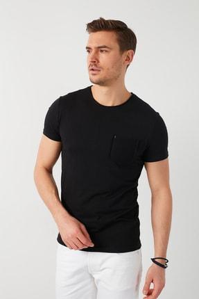 Buratti Erkek Siyah Pamuklu Bisiklet Yaka Cepli T-Shirt 1