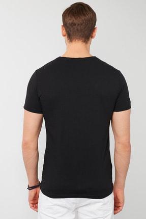 Buratti Erkek Siyah Pamuklu Bisiklet Yaka Cepli T-Shirt 3