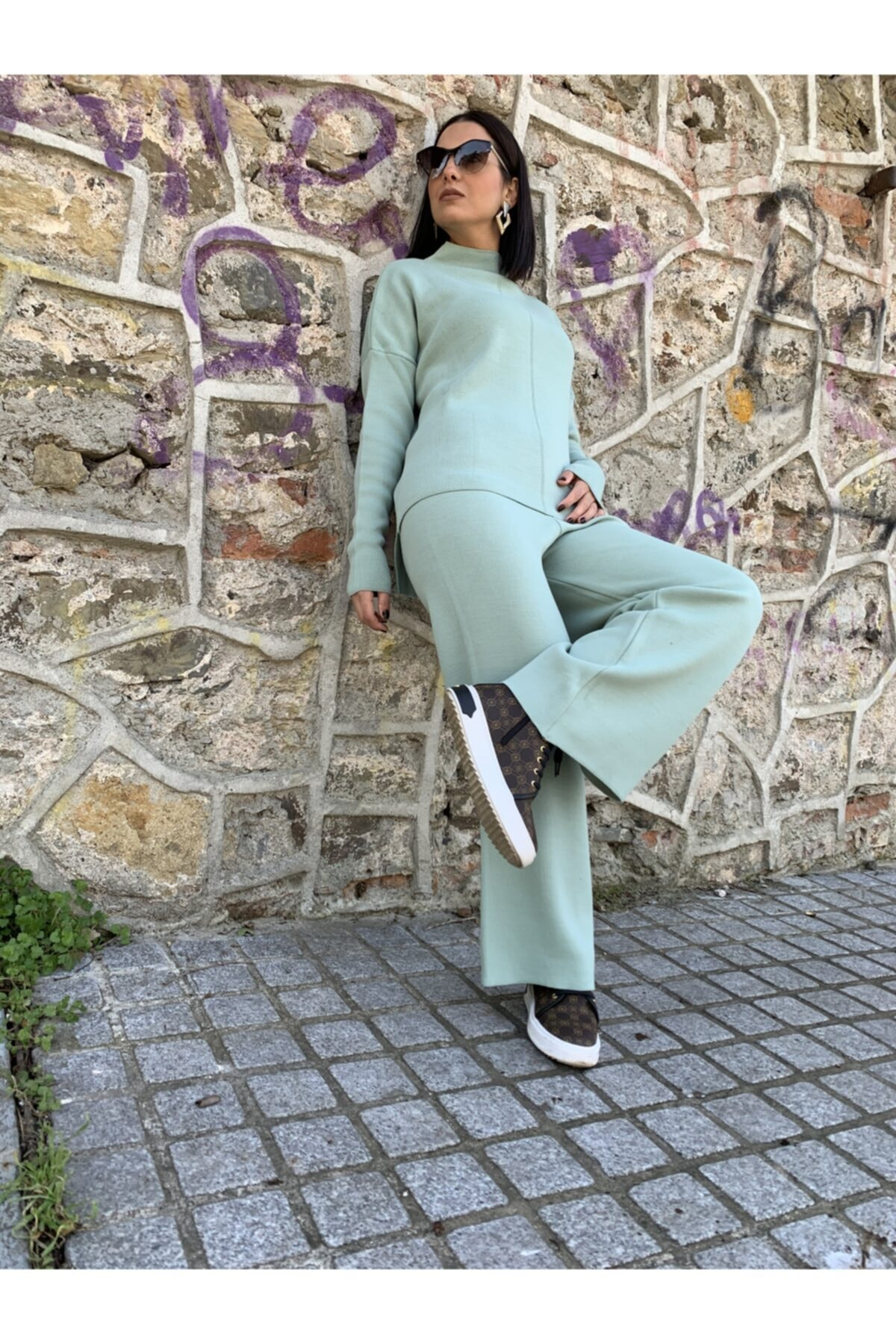 Park Karon Kadın Su Yeşili Kazak Pantolon Triko Alt Üst Takım