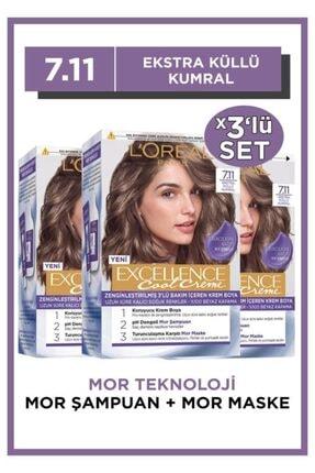 L'Oreal Paris L'oréal Paris Excellence Cool Creme Saç Boyası – 7.11 Ekstra Küllü Kumral 3'lü Set 0