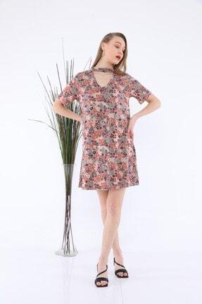 Tiefti Kadın Kahverengi Çiçekli Elbise 0