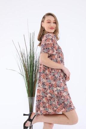 Tiefti Kadın Kahverengi Çiçekli Elbise 2