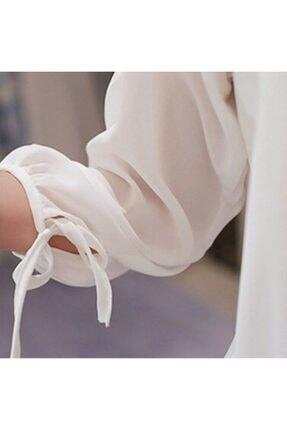 Mina Tasarım Kadın Beyaz Dantelli Bluz 2