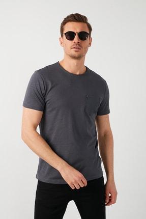 Buratti Erkek Gri Pamuklu Bisiklet Yaka Cepli T-Shirt 2