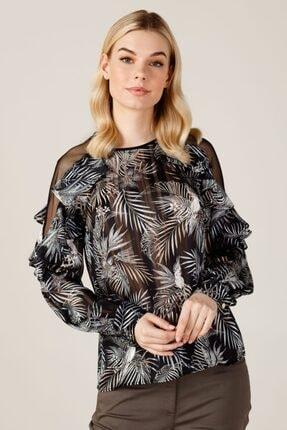 Kadın Siyah Ekol Omzu Tül Detaylı Bluz K4084