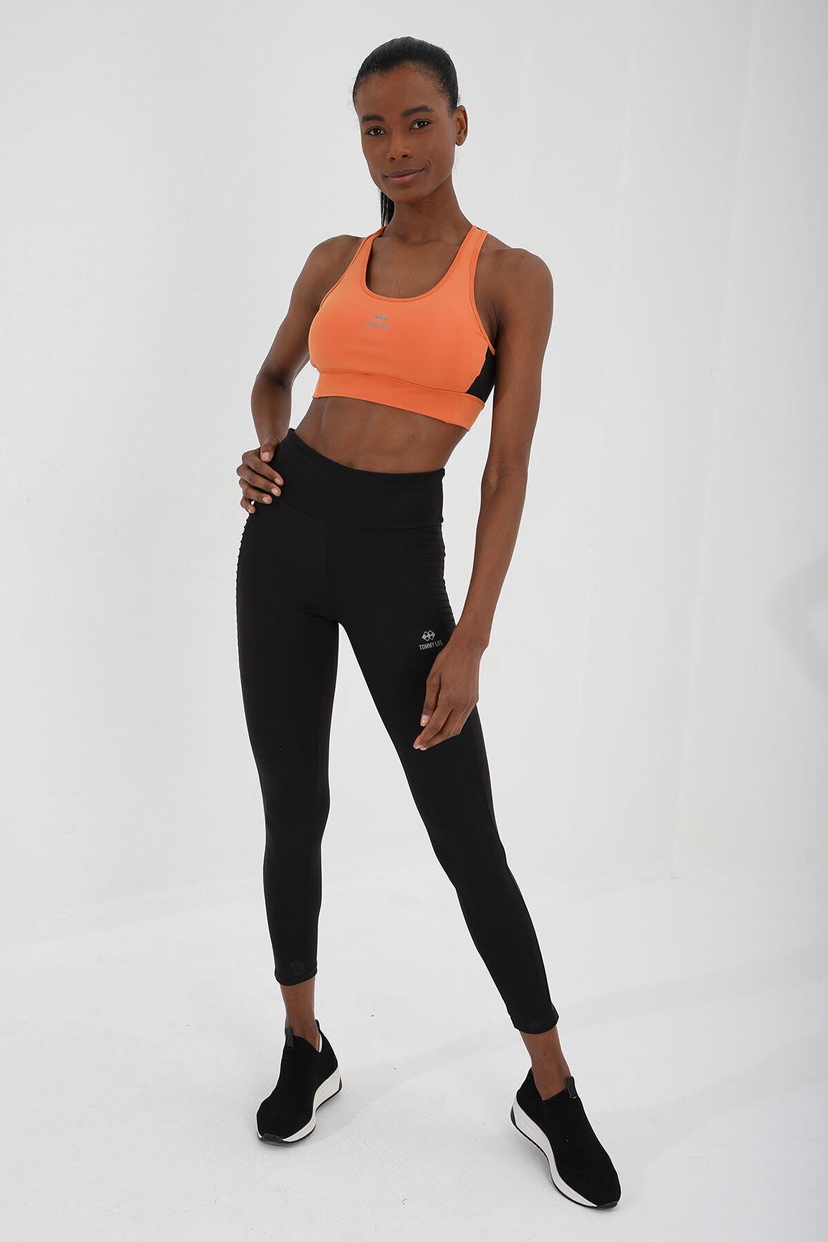 Kadın Oranj Çapraz Sırt Detaylı Slim Fit U Yaka Spor Büstiyer - 97121