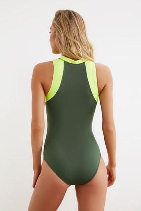 TRENDYOLMİLLA Yeşil Fermuarlı Sörfçü Mayo TBESS21MA0014 3