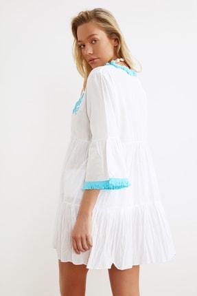 TRENDYOLMİLLA Beyaz Boncuk Nakışlı Vual Plaj Elbisesi TBESS21EL1351 3