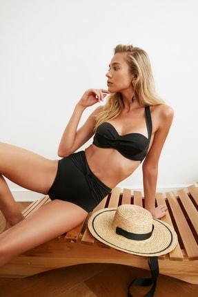 TRENDYOLMİLLA Siyah Büzgü Detaylı Yüksek Bel Bikini Altı TBESS20BA0206 0